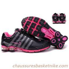 Nike Shox R4 Air Cushion PU femmes chaussures de course noir et rose