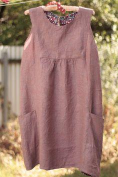 Lempo Bee: Painted Portrait Dress in linen