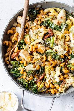 This One-Pot Chicken and Artichoke Cavatappi with kale and sun-dried tomatoes, flavored with lemon juice, garlic, and oregano, is bursting with flavor. #pasta #onepot #onepotpasta Pasta Recipes, New Recipes, Real Food Recipes, Chicken Recipes, Dinner Recipes, Cooking Recipes, Healthy Recipes, Dinner Ideas, Healthy Meals