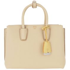 MCM Shoulder Bag - Milla Tote Small Latte Beige - in beige - Shoulder... ($1,025) ❤ liked on Polyvore featuring bags, handbags, shoulder bags, beige, leather tote, zipper tote, brown leather tote, brown leather purse and leather zip tote