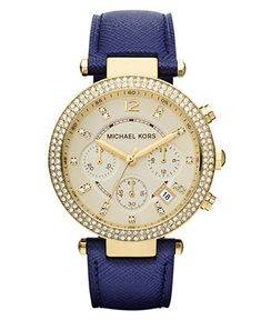 Oh no oh my, want this Michael Kors Watch, Women's Chronograph Parker Navy Leatherr