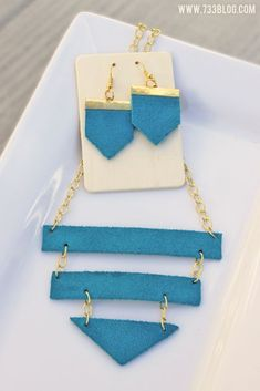 DIY Geometric Leather Necklace and Earrings made with Cricut Explore -- Seven Thirty Three Blog.