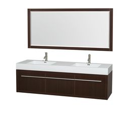Wyndham Axa  72-inch acrylic restop sink and 70-inch mirror double bathroom vanity features a bold, ultra-modern and visually stunning design that is wall-hung for a powerful statement.