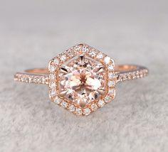 Round Morganite Engagement Ring Pave Diamond Wedding Hexagon Halo 14k Rose Gold 7mm