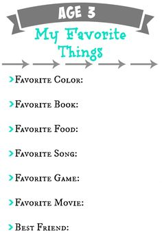 Annual Birthday Questionnaire for a Memory Book   Planning Playtime