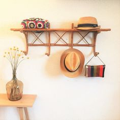 Coat rack coat hook shelf rattan vintage mid by ChouetteFabrique