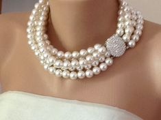 Pearl Necklace 5  strands Bridal  Pearl  by HMbySemraAscioglu