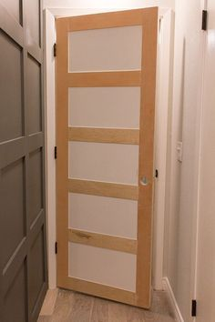 Love the look of paneled doors, consider for upgrading the closet doors. I think we will be doing this on a couple of our doors in the house! Master Makeover: DIY Plain to Paneled Door Diy Interior Doors, Diy Interior Door Makeover, Interior Design, Interior Paint, 5 Panel Doors, Hollow Core Doors, Shaker Doors, Up House, Diy Door