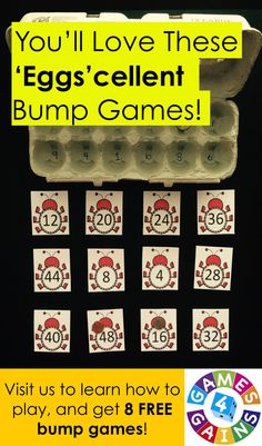Looking for low-prep, easy-to-use centers for practicing multiplication facts?  Do you want 8 FREE multiplication fact bump games that you can use in class tomorrow?  Come visit us at Games4Gains.com to get your free set!  Plus, see how we replace the dice with an egg carton in order to 'roll' so many more possibilities!