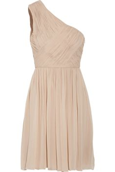 tibi one shoulder silk chiffon dress