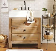 reclaimed wood sink console