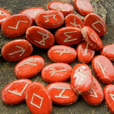 Elder Futhark Rune Set - oval dark orange by gryphonwyck