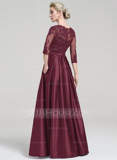 Ball-Gown Scoop Neck Floor-Length Zipper Up Sleeves 3/4 Sleeves No Other Colors Spring Summer Fall General Plus Satin Evening Dress