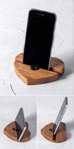 Beautiful wooden heart shaped phone or tablet stand
