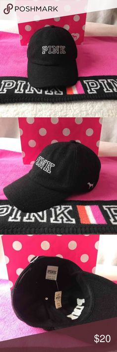 "VICTORIAS SECRET PINK BLING /""PINK/"" ONE SIZE HAT CAP CHOICE NWT"
