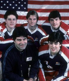 Clockwise from bottom left, Lou Vairo with members of the 1984 U.S. men's Olympic team, Al Iafrate, David Jensen, Ed Olczyk and Pat LaFontaine. Vairo, of Brooklyn, was the head coach of the team, which finished seventh.