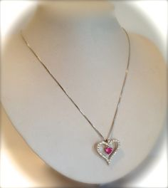 Sterling Silver Pink Sapphire and Pave Heart by WOWTHATSBEAUTIFUL