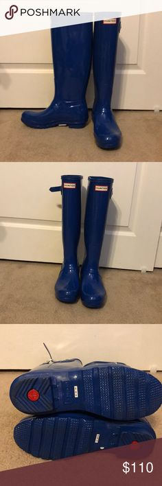 7e71bfa8d9477e Hunter Original Gloss Adjustable Boots Hunter Original Gloss Adjustable  Boots size 8 blue EUC Hunter Shoes