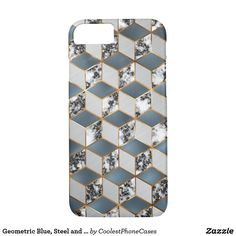 Shop Geometric Blue, Steel and Marble Gold Cubes Mobile Case-Mate iPhone Case created by CoolestPhoneCases. Mobile Cases, Iphone 8 Cases, Cubes, Marble, Steel, Gold, Blue, Dice, Marbles