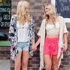 Kimonos and best friends, what more could you ask for?   UOIonline.com: Women's Clothing Boutique
