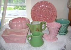 Ready Made Pink & Green Vintage Pottery Collection 7 Pc McCoy Pottery Hall   $34.99 Bargain!