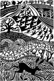 Carry Akroyd's fabulous lino cuts….great example of textures specific to areas of image Linocut Prints, Art Prints, Block Prints, Linoprint, Poster Design, Scratchboard, Arte Popular, Wood Engraving, Woodblock Print
