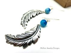 Bright blue and white banded agate stone and silver Feathers. Sterling silver earrings. McKee Jewelry Designs