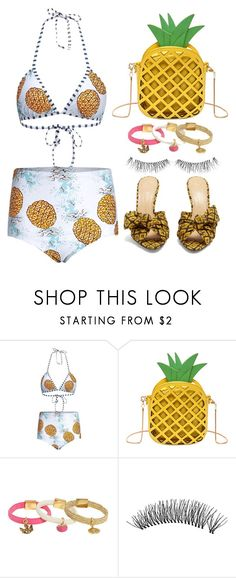 """""""Pineapple Beach Style"""" by simona-altobelli ❤ liked on Polyvore featuring Juicy Couture, Charlotte Olympia, bikini, MyStyle, print, beachstyle and pineapple"""