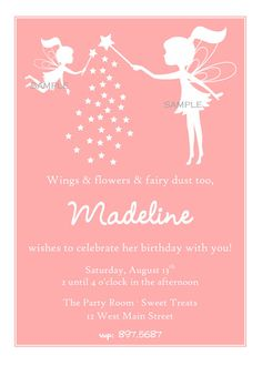 Fairy birthday party invitation idea