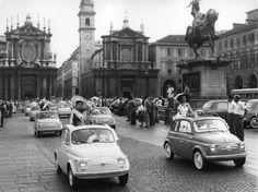 Fiat 500 launch in Turin in 1957 Vespa, Maserati, Ferrari, Fiat Cinquecento, Fiat 500c, New Fiat, Automobile, Fiat Cars, Belle Villa