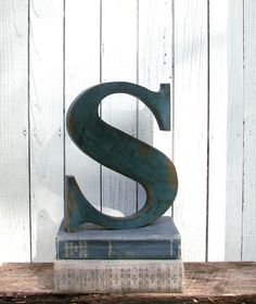 Wooden Letter S Painted Distressed Teal made from salvaged wood   by SecondNatureWoodwork