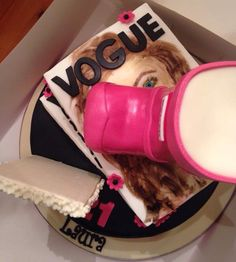 Vogue cake hand painted with icing colours Icing Colors, Colours, Lush, Vogue, Hand Painted, Cake, Desserts, Gifts, Food