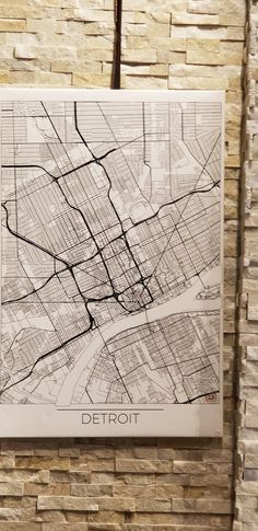 Giclee  Detroit  map Canvas