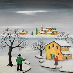 Zenone (Emilio Giunchi) - Paesaggio innevato   #TuscanyAgriturismoGiratola