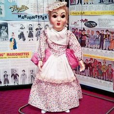 """Hazelle's 914 Little Bo Peep arrived this weekend. She is as fine an example of this character as I've seen, and this is the scarce version. This is the Tenite plastic version from 1950. Before this, 914 Little Bo Peep (ca. 1945-49) had a head made of composition, but the costume was almost the same. 312 Bo Peep (1937-45) was an earlier version. There is a marionette on page 69 of Mike Joly's book labeled """"Little Bo Peep, #914, ca. 1950"""", but the costume is not like any Bo Peeps in product…"""