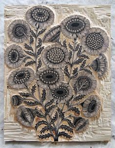 Valerie Lueth + Paul Roden, Tugboat Printshop ~ Daisy Bouquet ~ Woodcut