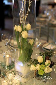 Winter white flowers, centerpiece