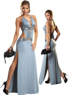 Sexy Grey Long Gown Deep Plunge Neckline