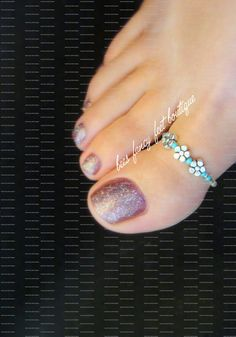 So cute..Big Toe Ring Silver Violets Turquoise by FancyFeetBoutique