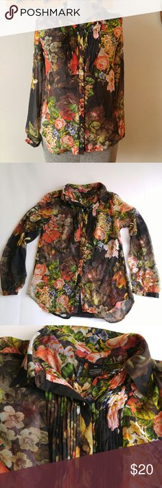 Sheer floral print button down shirt blouse S Beautiful sheer button down blouse - black with vivid floral print - long sleeves with button cuffs - pleated design at bust - size: Small Petite - in great shape with light signs of wear, a few loose threads that do not affect the wear. No rips or stains. From a smoke free home :)  8188floral888 Tops Button Down Shirts