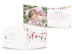 Karteneden Einladungen Einschulung Wimpel-ABCSeinen Namen kann Ihr Kind bestimmt schon selber schreiben und bald kommt das ganze Alphabet hinzu. Laden Sie zum Schulanfang mit dieser bunt-fröhlichen Karte ein.