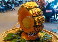 Carved melone in a pumpkin. A Pumpkin, Pumpkin Carving, Decoration, Party, Decor, Pumpkin Carvings, Deko, Embellishments, Receptions