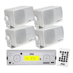 In-Dash Marine AM/FM Radio USB/SD Stereo Player Recevier Aux-In (for iPod/MP3) W/ Remote + 4 x 3.5'' 200 Watt 3-Way Weather Proof Mini Box Speakers