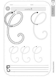 la lettre C majuscule au CP:FICHES d'ECRITURE. Modèles d'écriture cursive Wire Letters, First Grade, Handwriting, Math, School, Calligraphy, Wire Jewelry, Montessori, Banners