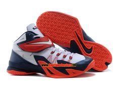 new styles 10298 3e483 Nike zoom lebron soldier 8 viii ae - chaussure de basket-ball pas cher pour homme  blanc noir-rouge 653642-600