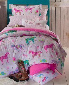 PONY HORSE COMFORTER SHEET PILLOW CASE BED COWGIRL FLOWERS GIRLS TWEEN Western