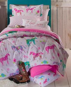 PONY HORSE COMFORTER SHEET PILLOW CASE BED COWGIRL FLOWERS GIRLS TWEEN Western