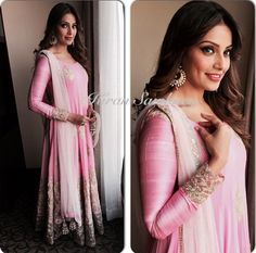Top Indian fashion and lifestyle blog. Bipasha Basu is in Varanasi today for PC jewelers store launch. She wore beautiful baby pink, long anarkali by Manish Malhotra and jewelry by PC jewelers.
