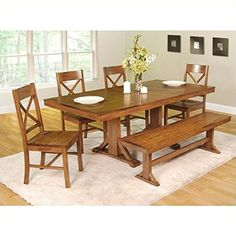 6 Piece dining table set with bench in warm-brown dining room ...