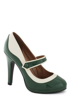 'S Marvelous Heel in Green - Green, Tan / Cream, Party, Work, Cocktail, Holiday Party, Daytime Party, Film Noir, Menswear Inspired, Pinup, V...